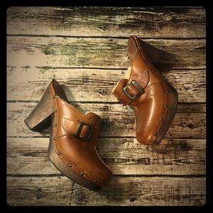 Frye Leather Fur Lined Heeled Clog